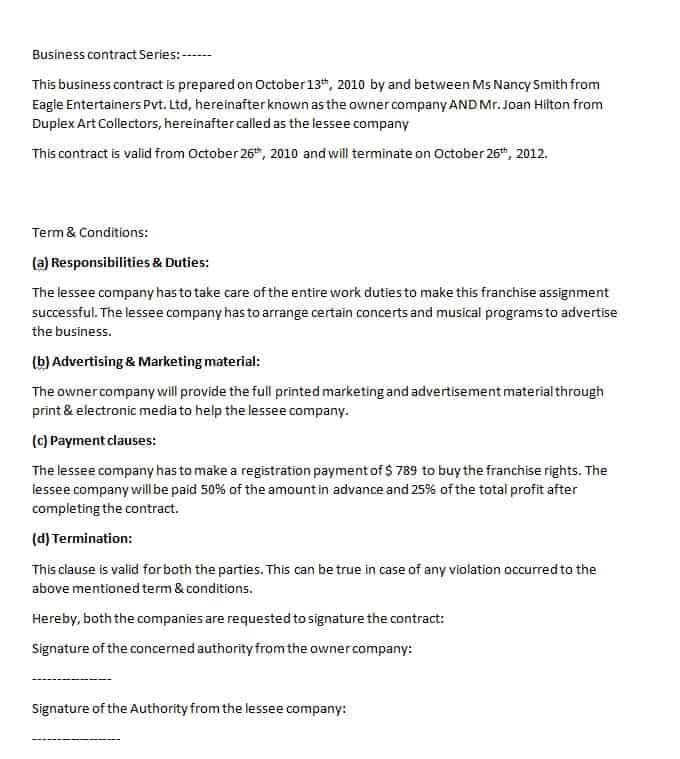 Business Agreement Format  Contract Templates