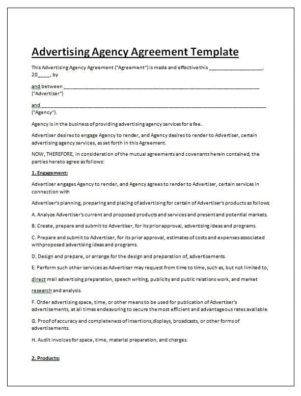 Advertising Contract Template  Contract Agreements Formats