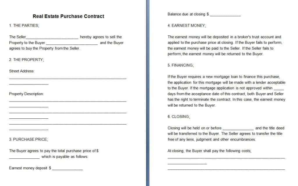 Rental Contracts – Free Printable Real Estate Sales Contract