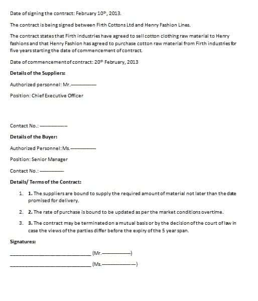 Commercial Contract Template  Contract Agreements Formats  Examples