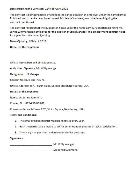 Free Employment Contract Form. Employment Contract Example ...