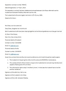 separation contract template
