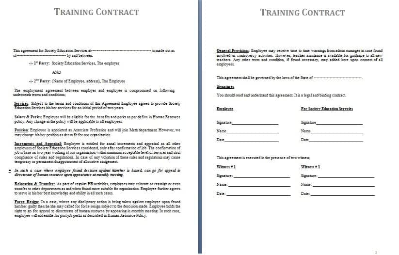Work Contract Template Training Contract Template Training Contract