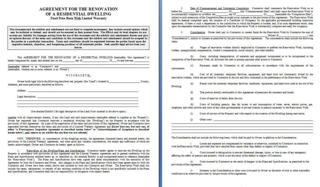 Renovation Contract – Remodeling Contract Template Sample
