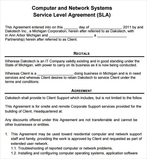 Computer service contract contract agreements formats for Monthly service contract template