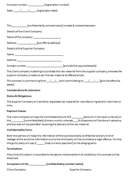 Confidentiality Contract Template | Contract Agreements, Formats