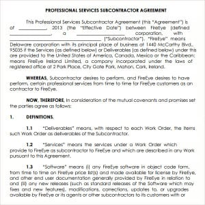 Subcontractor Agreement Template Contract Agreements
