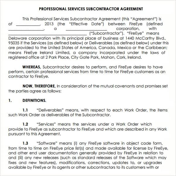 Subcontractor Agreement Template – Subcontractor Agreement Template