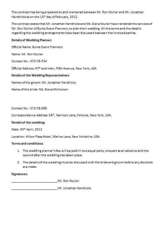 Nice Wedding Contract Template Design