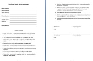 Hair Salon Booth Rental Agreement