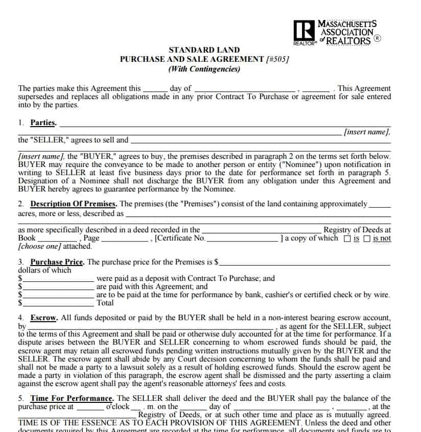 Download Free Land Sale Contract Template: