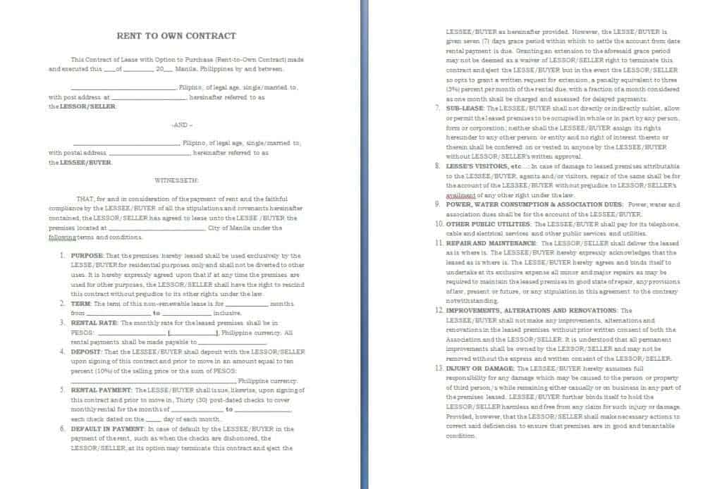 Doc466604 Rent Contract Rental Agreement Template Write a – Auto Rental and Lease Form