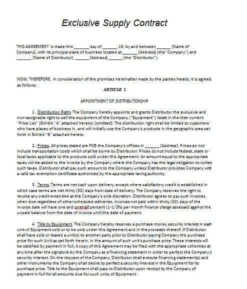 Supply Contract Template Contract Agreements Formats Examples