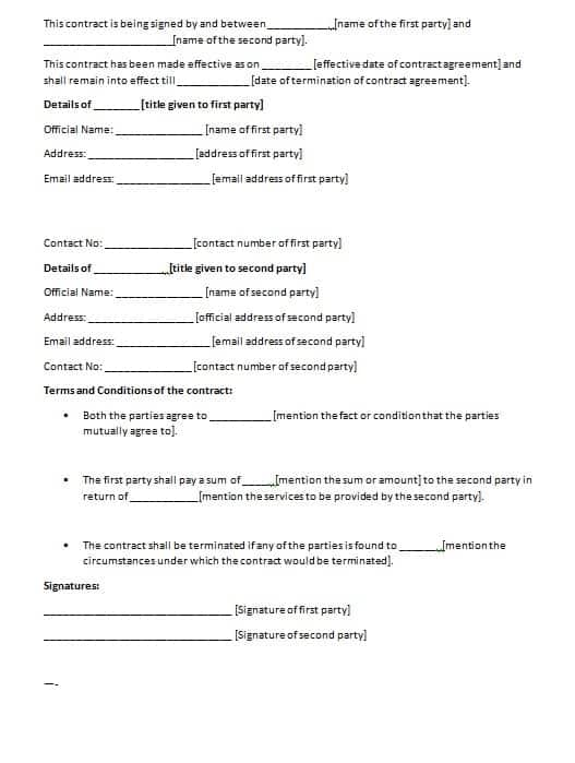 Contract Agreement Template Contract Agreements Formats