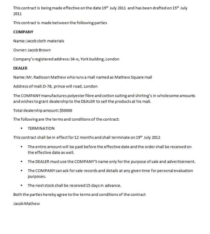 Dealership Contract Template Contract Agreements Formats