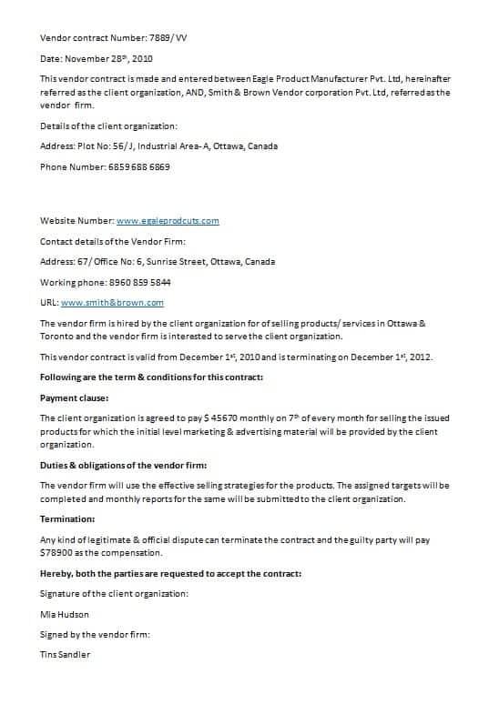 vendor-contract-template-Image Vendor Contract Letter Template on vendor booth contract template, vendor contract template for events, sponsorship template letters, vendor contract forms,